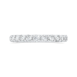 14K White Gold Half-Eternity Round Diamond Wedding Band