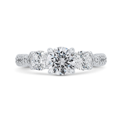 18K White Gold Three-Stone Engagement Ring with Round Diamond (Semi-Mount)