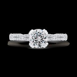 14K White Gold Diamond Engagement Ring (Semi-Mount)