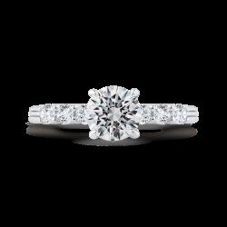 14K White Gold Diamond Engagement Ring with Euro Shank (Semi-Mount)