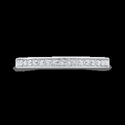 14K White Gold Round Diamond Wedding Band with Euro Shank
