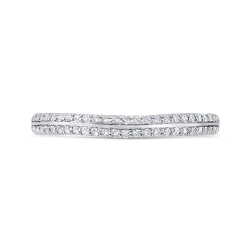 14K White Gold Double Row Diamond Wedding Band with Euro Shank