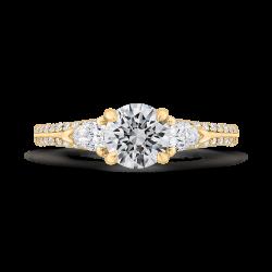 14K Yellow Gold Round Diamond Three-Stone Plus Engagement Ring with Euro Shank (Semi-Mount)