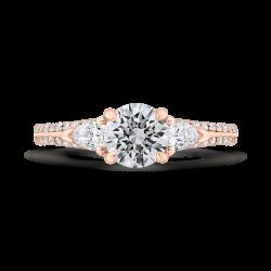 14K Rose Gold Round Diamond Three-Stone Plus Engagement Ring with Euro Shank (Semi-Mount)