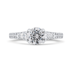 14K White Gold Round Diamond Three-Stone Plus Engagement Ring with Euro Shank (Semi-Mount)