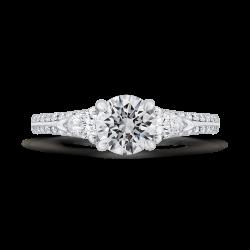 14K White Gold Round Diamond Three-Stone Plus Engagement Ring with Euro Shank (Semi-Mount)