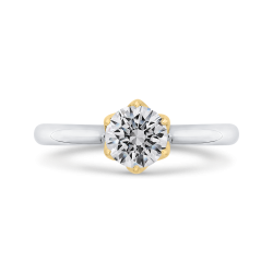 14K Two-Tone Gold Round Diamond Solitaire Plus Engagement Ring (Semi-Mount)