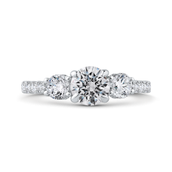 14K White Gold Round Diamond Three-Stone Plus Engagement Ring with Round Shank (Semi-Mount)