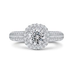 14K White Gold Three Row Round Diamond Double Halo Engagement Ring (Semi-Mount)