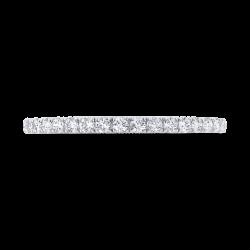 14K White Gold Diamond Wedding Band with Milgrain