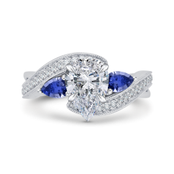 18K White Gold Pear Diamond Engagement Ring with Sapphire