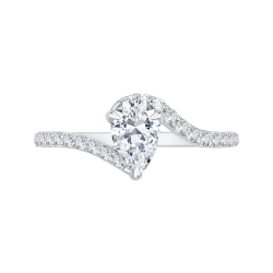 14K White Gold Pear Diamond Promise Engagement Ring (Semi-Mount)