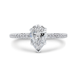18K White Gold 1/5 Ct Diamond Carizza Semi Mount Engagement Ring to fit Pear Center