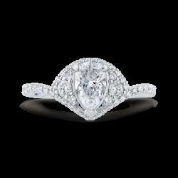 14K White Gold Pear Diamond Engagement Ring (Semi-Mount)