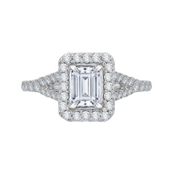 14K White Gold Emerald Cut Diamond Halo Engagement Ring with Split Shank (Semi-Mount)