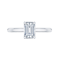 18K White Gold Emerald Cut Diamond Solitaire Engagement Ring (Semi-Mount)