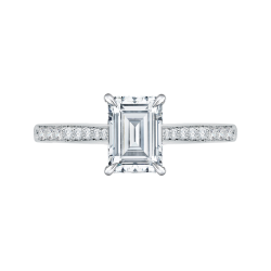Emerald Cut Diamond Solitaire with Accents Engagement Ring In 18K White Gold (Semi-Mount)