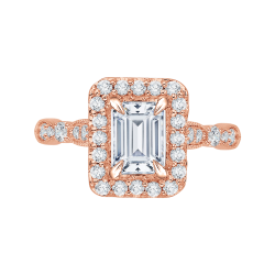 14K Rose Gold Emerald Cut Diamond Halo Vintage Engagement Ring (Semi-Mount)