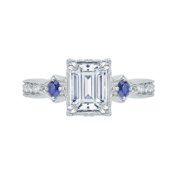 18K White Gold Emerald Cut Diamond Engagement Ring with Sapphire