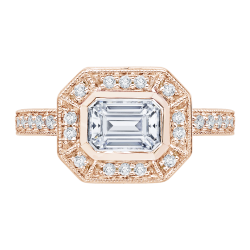 Emerald Cut Diamond Halo Engagement Ring In 14K Rose Gold (Semi-Mount)