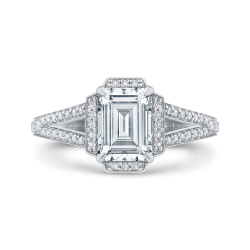 14K White Gold Emerald Cut Diamond Cathedral Style Engagement Ring with Split Shank (Semi-Mount)