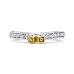 Round Diamond Wedding Band In 14K Two Tone-Gold