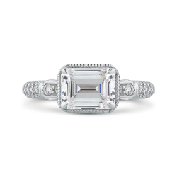14K White Gold Emerald Cut Diamond Vintage Engagement Ring (Semi-Mount)