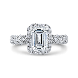 18K White Gold 1/2 Ct Diamond Carizza Semi Mount Engagement Ring to fit Emerald Center