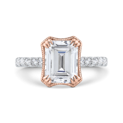 14K Two-Tone Gold Diamond Engagement Ring (Semi-Mount)