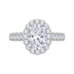 Oval Diamond Halo Engagement Ring In ...