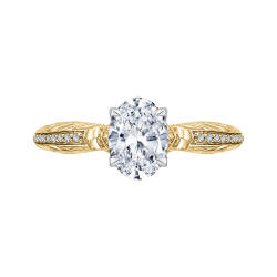 18K Two-Tone Gold Oval Diamond Engagement Ring