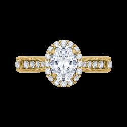 18K Yellow Gold Oval Diamond Halo Engagement Ring (Semi-Mount)