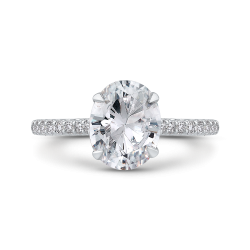 18K White Gold Oval Diamond Cathedral Style Engagement Ring
