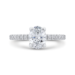 Oval Cut Diamond Engagement Ring In 14K White Gold (Semi-Mount)