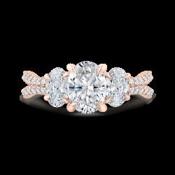 14K Rose Gold Oval Diamond Three-Stone Plus Engagement Ring with Split Shank (Semi-Mount)