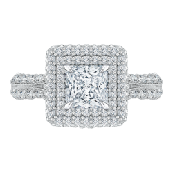 18K White Gold Princess Diamond Engag...
