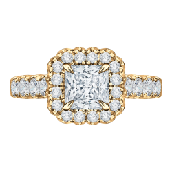 18K Yellow Gold Princess Diamond Enga...