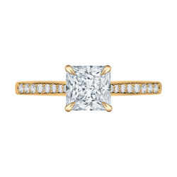 14K Yellow Gold Princess Cut Diamond Solitaire with Accents Engagement Ring (Semi-Mount)