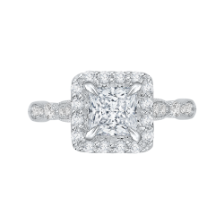 Princess Diamond Halo Vintage Engagement Ring In 14K White Gold (Semi-Mount)