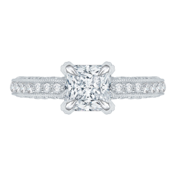 Princess Cut Diamond Floral Engagement Ring In 14K White Gold (Semi-Mount)