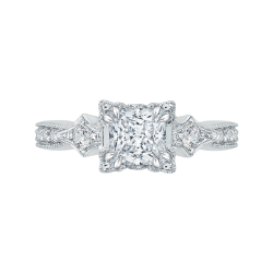 14K White Gold Princess Diamond Vintage Engagement Ring (Semi-Mount)