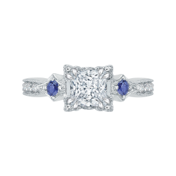 14K White Gold Princess Diamond Engagement Ring with Sapphire (Semi-Mount)