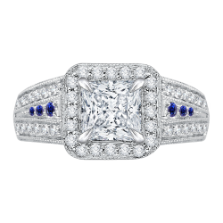 18K White Gold Princess Diamond and S...