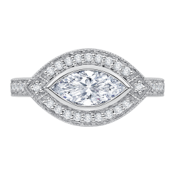 14K White Gold Marquise Diamond Halo Engagement Ring (Semi-Mount)