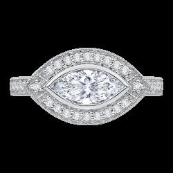 18K White Gold Marquise Diamond Engagement Ring