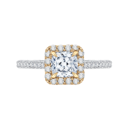18K Two-Tone Gold Cushion Diamond Eng...