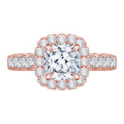 14K Rose Gold Cushion Cut Diamond Halo Engagement Ring (Semi-Mount)