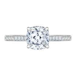 14K White Gold Cushion Cut Diamond Solitaire with Accents Engagement Ring (Semi-Mount)