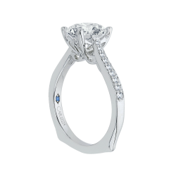 18K White Gold 1/5 Ct Diamond Carizza Semi Mount Engagement Ring to fit Cushion Center