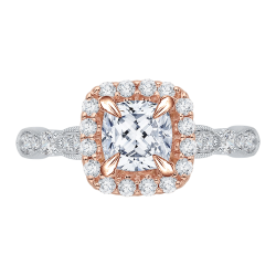 Cushion Diamond Halo Vintage Engagement Ring In 14K Two-Tone Gold (Semi-Mount)